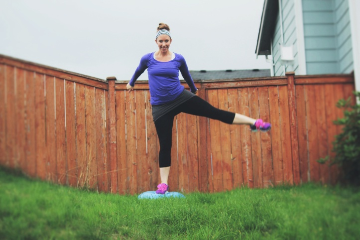 bosu hop overs with a leg lift
