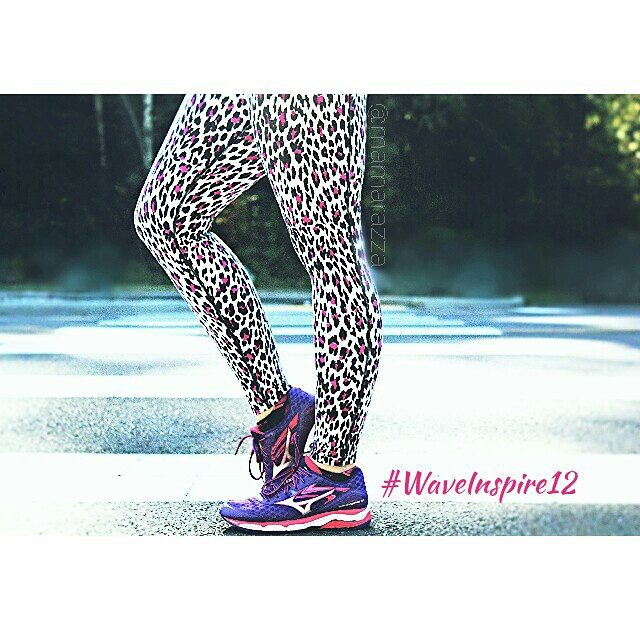 Lorna Jane leopard print pants and Mizuno Wave Inspire 12's in purple and pink